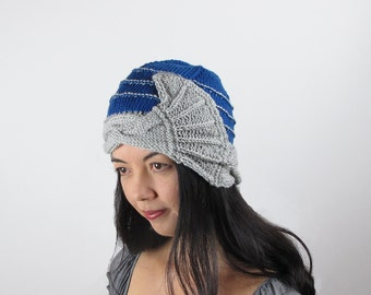 Blue Cloche Hat Merino Sapphire Blue and Silver Fan Cable Hand Knit Women's
