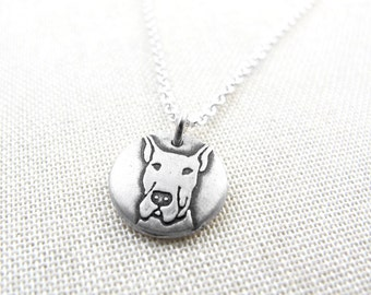 Tiny Great Dane necklace cropped ears, silver Great Dane  jewelry, pet memorial necklace,  remembrance jewelry