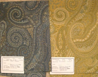 Blue or Gold Paisley Tapestry Upholstery Designer Fabric Sample Duralee 13024