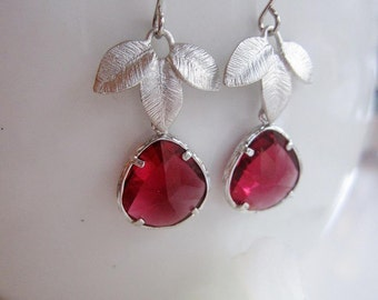Silver Leaf Earrings, Red Glass Teardrop, Bridesmaid earrings, Wedding Jewelry, Birthday, Modern Jewelry, Gift for Her, Gardendiva