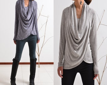 Dust and Snow - poetic draping light weight knit bottom top (Y5131)