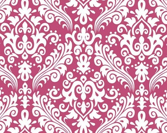 CLEARANCE!!   RBD, Medium Damask White on Raspberry (C830 91) - 1 yard