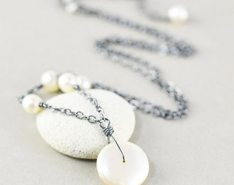 White Coin Pearl Necklace, June Birthstone Jewelry, Oxidized Sterling Necklace