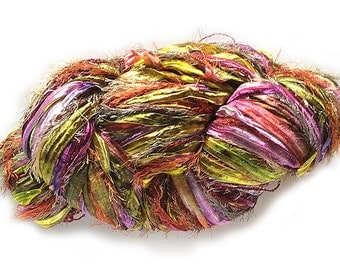 Stranded Skeins 2OAK 3-strand multi-textured yarn in Sparkling Tourmaline (magenta/chartreuse/fuchsia/orange/taupe multi))- 120 yds.