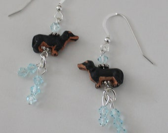 Black & Tan DACHSHUND DOG Earrings - Sterling Silver French Earwires - Blue