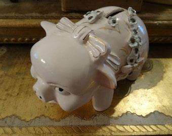 Vintage Cottage Shabby Pink Chic Piggy Bank