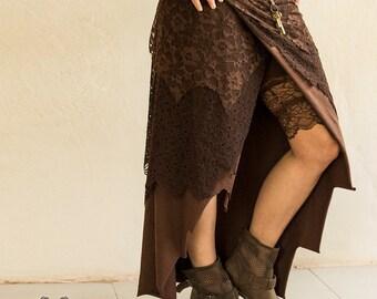 LONG PIXE SKIRT - Faery fairy Tribal Hippie Boho Burning Man Organic Costume Bohemian Elf Fantasy Gypsy Witch Goa - Chocolate Brown