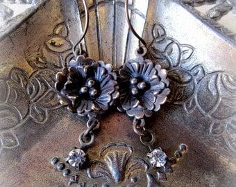 Bronze and Crystal Flower Earrings