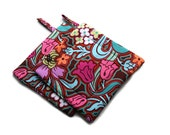Handmade Quilted Pot Holders Set of 2 Amy Butler Disco Tulips Pink