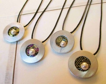 Japanese washi paper origami chiyogami pendant with washer disc pearl by cra1nes on etsy