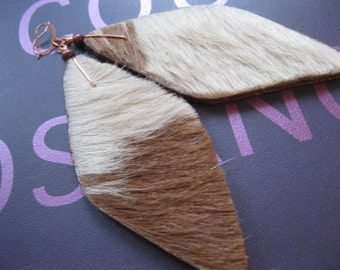 Hair on Leather Earrings -Tan and Off White elongated Diamond shapes with Brown accents. Copper earwires