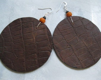 Large Leather Disk Earrings - Brown Croc Print with Peachy Orange Ultrasuede and  Black and orange beads. Sterling silver  earwires