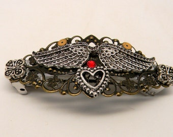 Steampunk jewelry large hair barrette