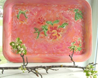 Vintage Tole Tray Hand Painted Floral Shabby Cottage Chic Garden