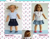 """18 inch doll clothes sewing pattern Ava Skirt and Top 18"""" doll clothing  Paper Sewing Pattern"""