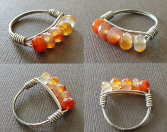 Carnelian Ring Birthstone Ring Stacking Ring Wire Wrapped Ring