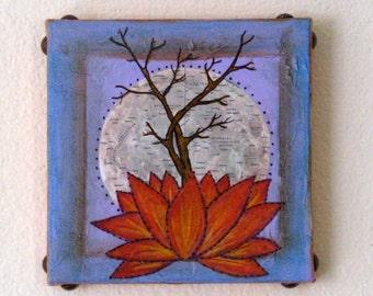 Base of Change 18 original mixed media tree lotus art