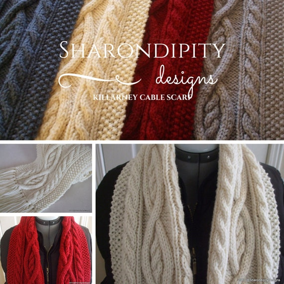 Cable Knit Shawl Pattern : Killarney Cable Knit Scarf PDF Pattern