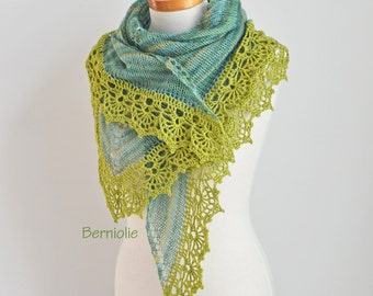 Knitted shawl with crochet lace trim, shades of green, N304
