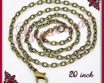Bulk Pack, 12 Antiqued Brass Chains, Flat Cable Chains 20 inch, CB2A