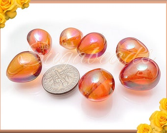 14 Tangerine Glass Teardrop Beads, Orange AB Glass Beads