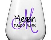 Monogram Bridal Party Wine Glass Decals, Personalized Bridal Party Wine Glasses, DIY, Glasses NOT Included