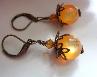 Orange Earrings Moonglow Earrings