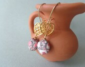 Red white mosaic gemstone gold heart earrings