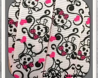 "Beauty Skulls with hearts & scrolls on light pink 3/8"" grosgrain ribbon 5 Yards- TWRH"
