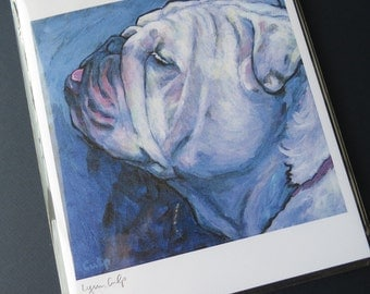 White BULLDOG 8x10 Signed Dog Art Print from Painting by Lynn Culp