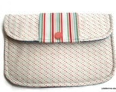 Clutch Purse Pastel Pin Dots and Stripes on White