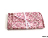 Icy Pink Snowflake Lace Matching Set Eyeglass Case and Wide Pocket Wallet
