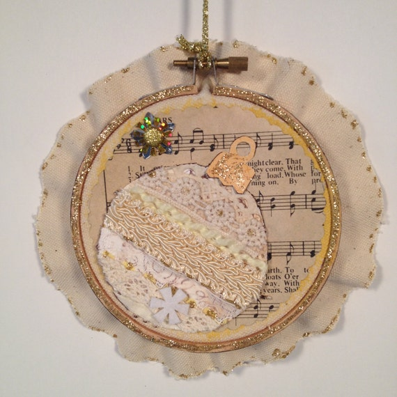 Items similar to embroidery hoop holiday ornament