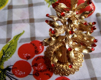 gold filigree and ruby tree