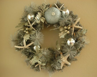 "Lighted 19"" beach inspirwed  Silver Christmas Wreath"