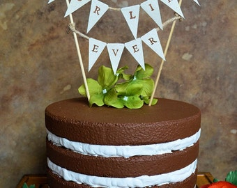 """Wedding cake topper...""""for like ever"""" banner for your rustic woodland look wedding cake"""