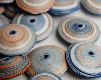 """34 Havre de GRace Orange and Blue  Combination 3/4"""" & 1/2"""" Paper Bead Pre Cut Paper for Making Paper Beads Orange and blue"""