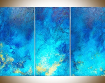 "Large wall art Blue Abstract Painting textured seascape Mixed Medium wall art wall decor canvas art ""The Ocean"" by QiQiGallery ready to hang"