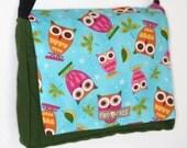 Heather Brown Teal Colorful OWL Print MESSENGER ipad Laptop Diaper BAG