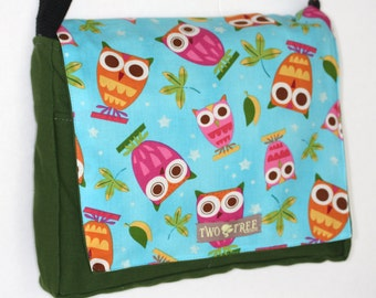 Green Teal Colorful OWL Print MESSENGER ipad Laptop Diaper BAG