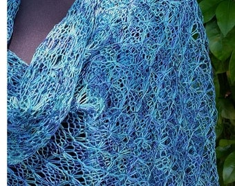 Lace Ocean Waves Hand knit stole shawl