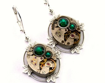 Steampunk Earrings Emerald Green May Birthstone Swarovski Crystal Floral Clockwork Steampunk Jewelry designed by London Particulars
