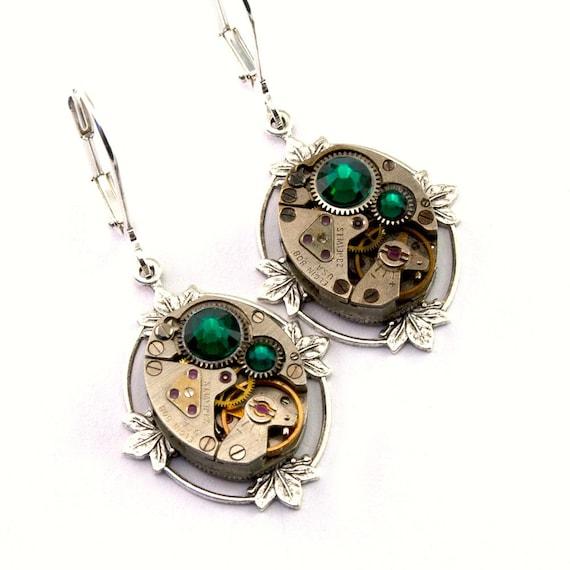 Steampunk Earrings Emerald Green May Birthstone Swarovski Crystal Floral Clockwork Steampunk Jewelry designed by London Particulars