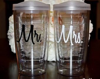 Mr and Mrs Tumbler Set - 16 oz Pacific Tumblers - His and Hers Tumblers