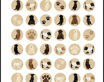 Labrador Doggies set 1 - 9 digital 8.5in x 11in bottlecap collage sheets {Instant Download}