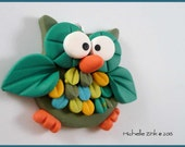 NEW Polymer Clay Feathered Owl in Greens