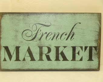 FRENCH MARKET SIGN / Paris chic Market / Paris apartment chic / French country sign / hand painted sign / French themed signs / market sign