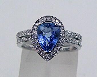 AAAA Ceylon Blue Sapphire Pear shape   8x6mm  1.20 Carats   Unheated 14K White gold Bridal set .40cts of diamonds. 1610