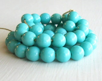 50 Opaque Turquoise Colored 6mm Glass Rounds - Czech Glass Beads