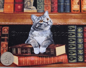 """Remnants CATS in the LIBRARY Cotton Quilt Fabric 24"""" Length and/or FQ Fat Quarter - Reading Books Cat Kitty Literary"""